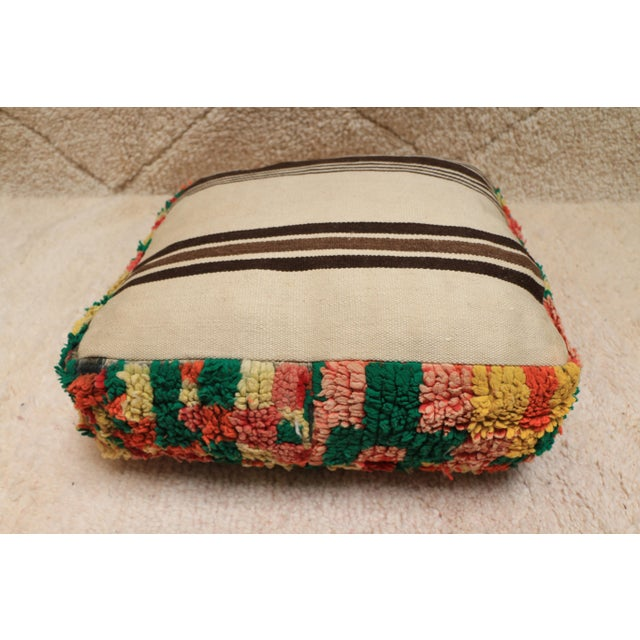 1990s Moroccan Colorful Unstuffed Pouf Cover For Sale - Image 5 of 11