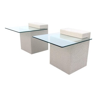 1990's Modern Cantilevered Glass Cocktail Table - a Pair For Sale