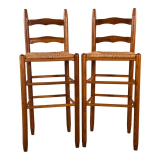 Vintage Oak Wood Bar Stool W/ Rush Seats, Pair For Sale