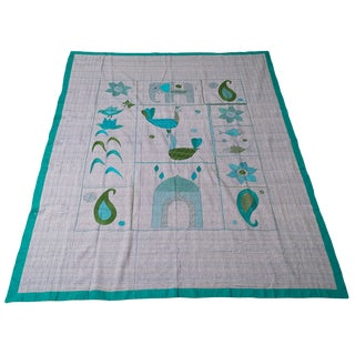 Boho Chic Peacock, Elephant and Fish Handmade Indian Textile For Sale
