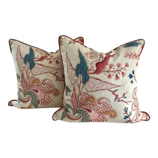 Jacobean Clarence House Floral Euro Pillows - a Pair For Sale
