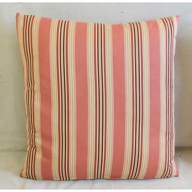 "French Multi Coral Striped Ticking Feather/Down Pillows 23"" Square - Pair For Sale - Image 4 of 11"