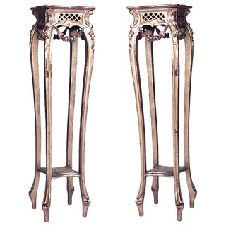19th Century French Louis XV Style Gilt Four Legged Square Pedestals - a Pair For Sale