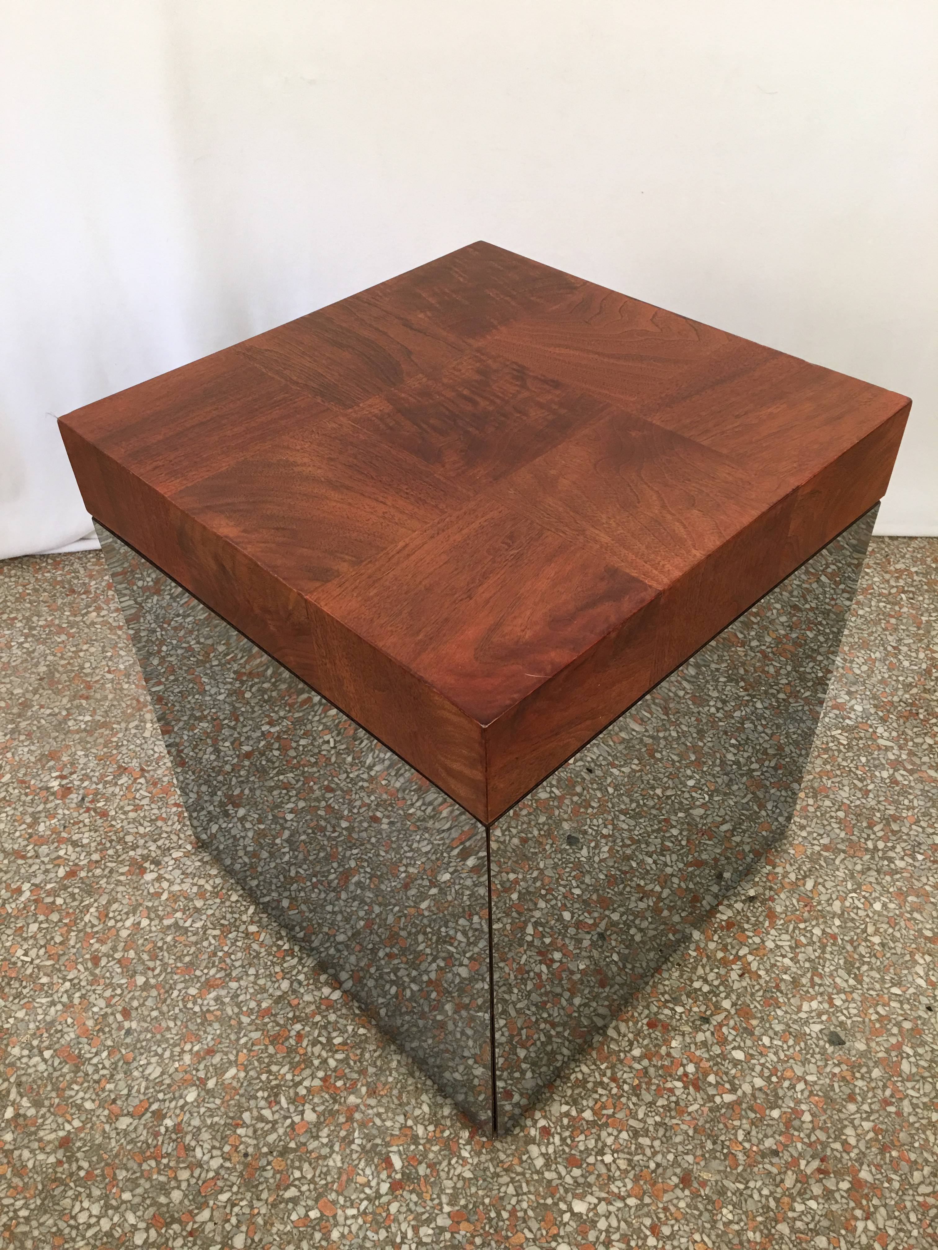 Vintage Milo Baughman Mirrored Cube End Table   Image 5 Of 7
