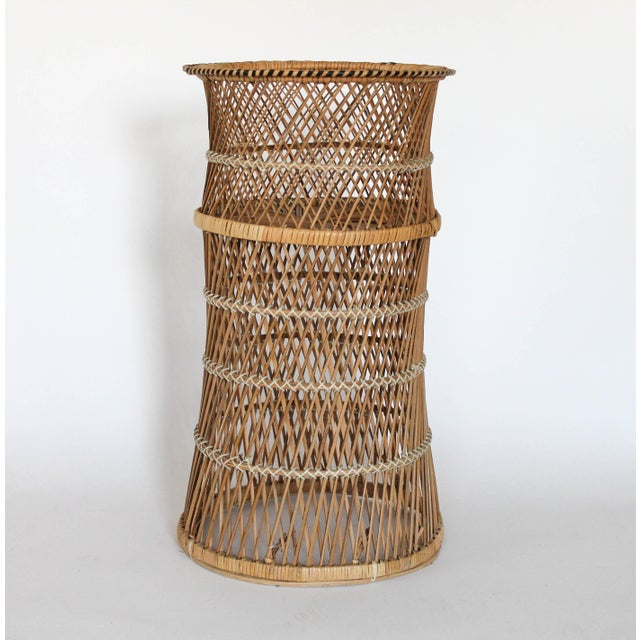 Mid 20th Century Boho Style Wicker Plant Stand For Sale - Image 5 of 5