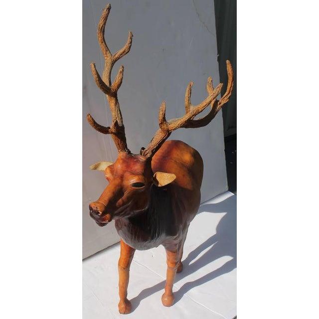 Adirondack Monumental Folky Handmade Leather Elk For Sale - Image 3 of 6