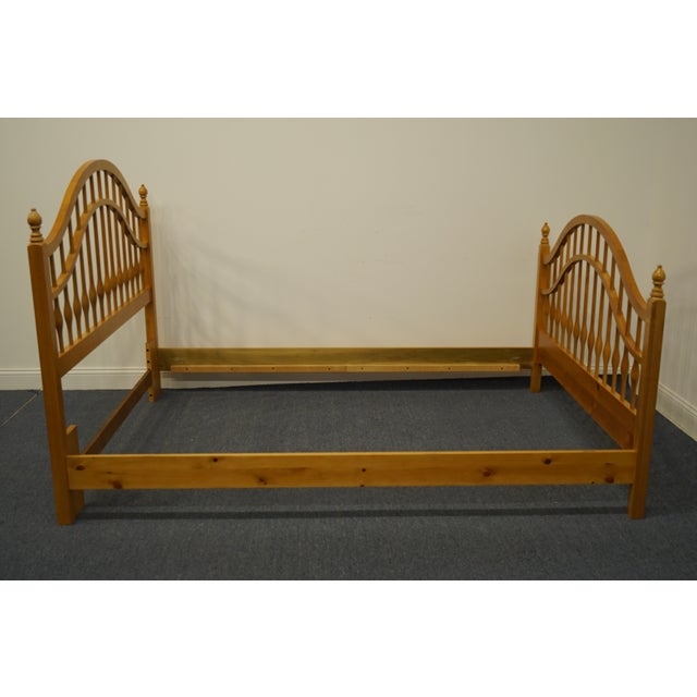 Brown Vintage Thomasville Furniture Solid Knotty Pine Queen Size Spindle Bed For Sale - Image 8 of 10