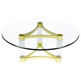 Brass and Lucite Reverse Trefoil Coffee Table For Sale