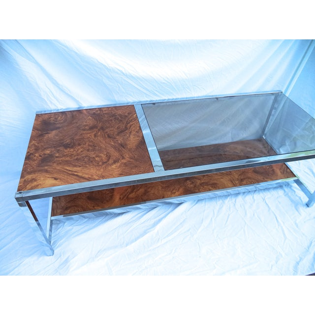 Mid-Century Chrome & Burl Coffee Table - Image 3 of 6