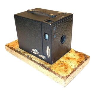Kodak No. 3 Brownie Box Camera on Travertine Base Circa 1920 For Sale