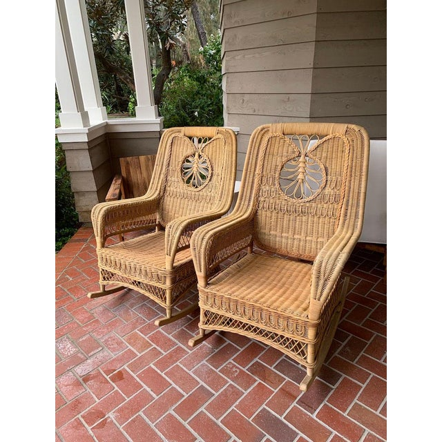 Coastal Ralph Lauren Wicker Rattan Rocking Chairs - Pair For Sale - Image 3 of 10