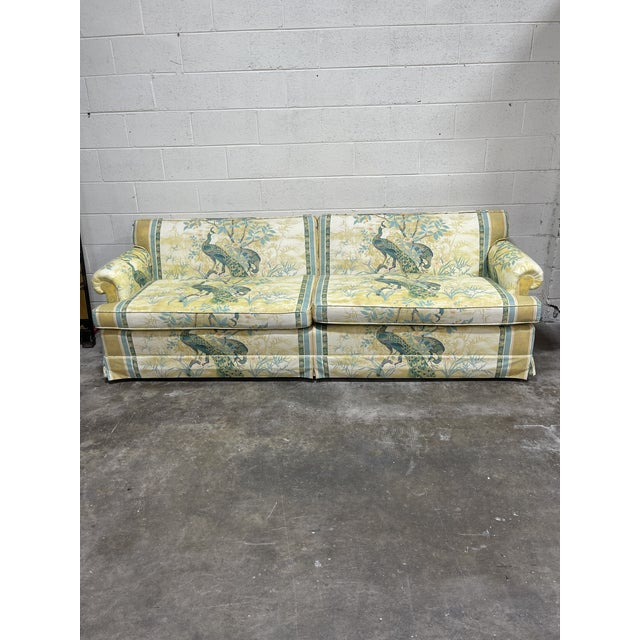 Beautiful vintage Henredon Schoonbeck sofa in exceptional condition. The pattern is Japanese peacocks and the colors are...