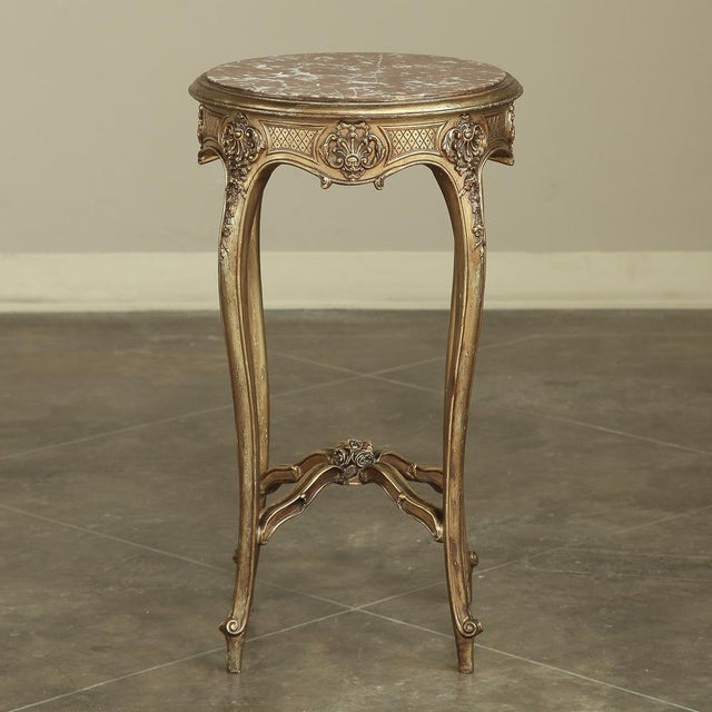 Early 19th Century 19th Century French Giltwood Marble-Top Lamp Table For Sale - Image 5 of 11