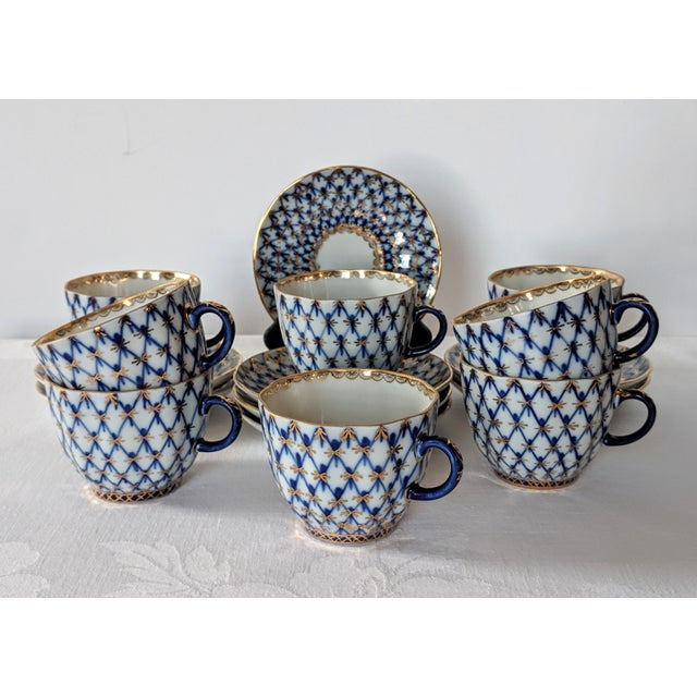 Vintage set of Lomonosov Russian Imperial porcelain demitasse cups and saucers in the classic Cobalt Fishnet Pattern with...