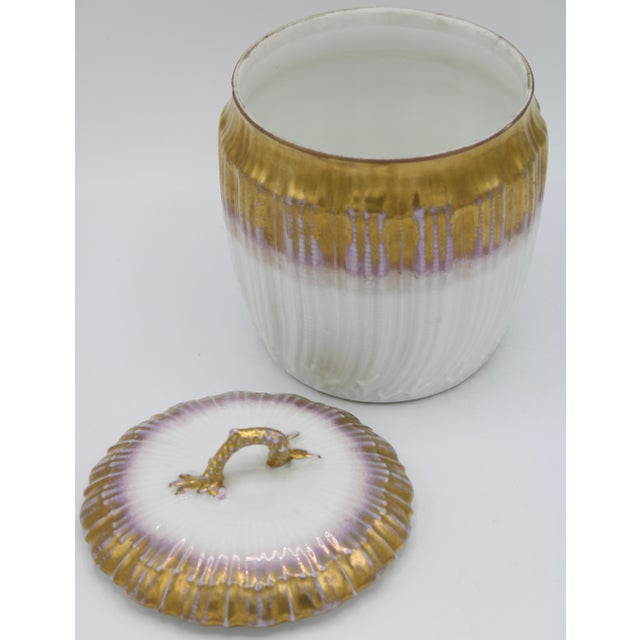 Antiques French Limoges Lavender Gold and White Biscuit Jar For Sale In Tulsa - Image 6 of 11