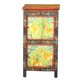 Antique Tibetan Painted Small Cabinet For Sale