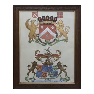 19th Century Framed Oil Painting of Family Crests For Sale
