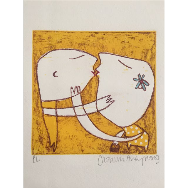 Original Yellow Monoprint by Marina Anaya - Image 2 of 10