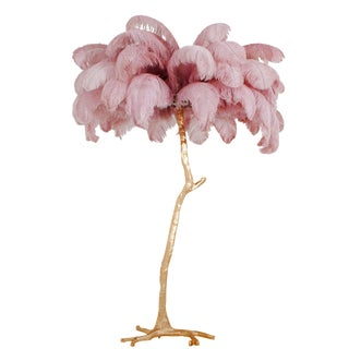 Hollywood Regency Feather Palm Tree Floor Lamp in Gold and Pink For Sale