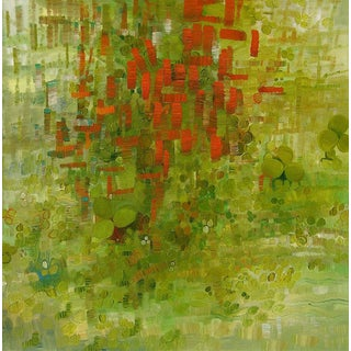 """Urso Contemporary Abstract Green Painting """"Curtain Clover Over"""" For Sale"""