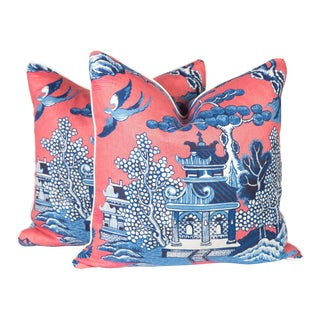 Chinoiserie Pagoda Toile Linen Pillows - A Pair For Sale