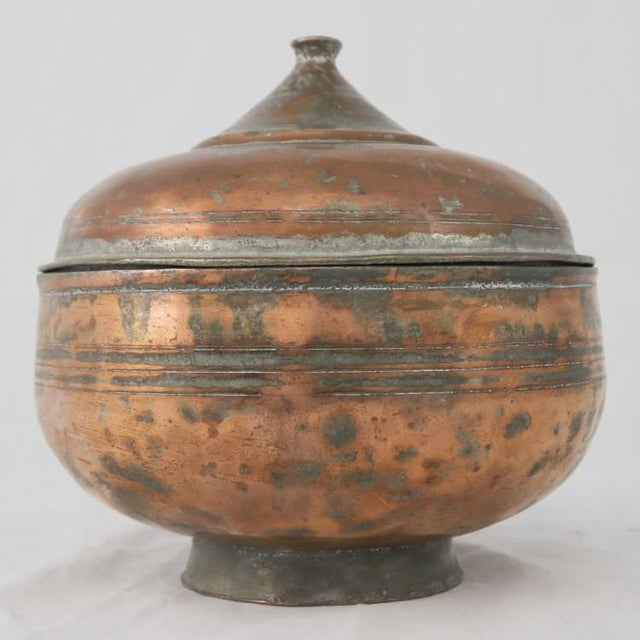Antique Turkish Copper Medium Sized Footed Bowl With Lid Hand Forged Incised Tinned For Sale - Image 13 of 13