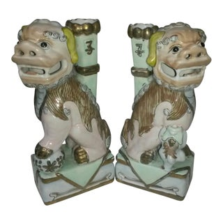 Antique Chinoiserie Foo Dog Figurines - a Pair For Sale