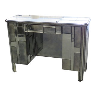 Modern Abstract Design Mirrored Desk For Sale