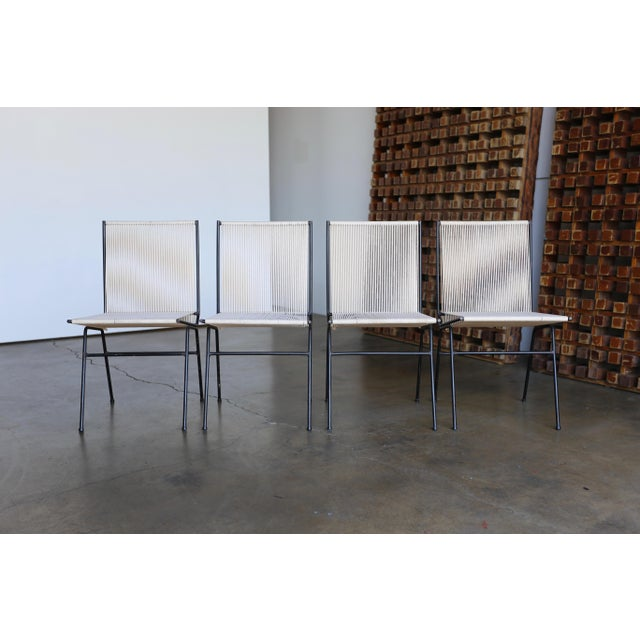 Mid-Century Modern Allan Gould String Steel Chairs - Set of 4 For Sale In Los Angeles - Image 6 of 13