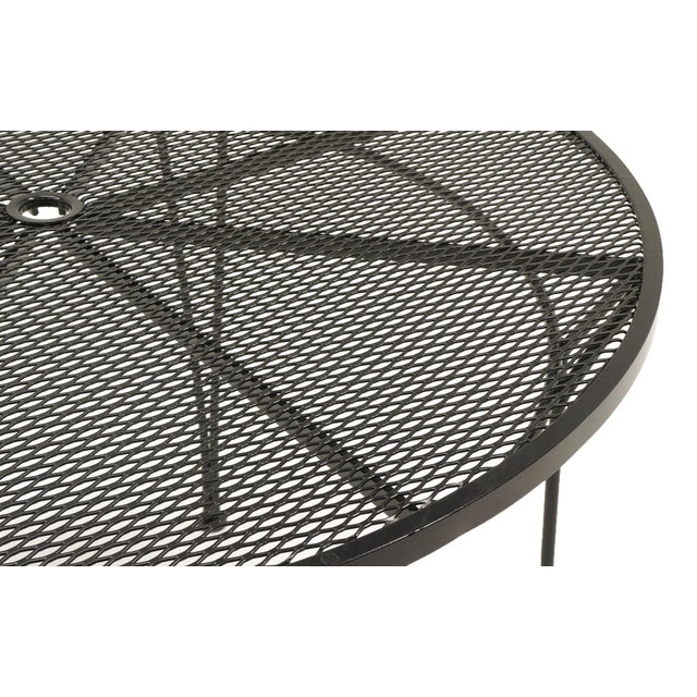 1960s Russell Woodard Outdoor Dining Table, Black Wrought Iron, Subtle Curved Legs For Sale - Image 5 of 6