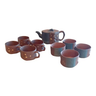 Mid 20th Century Chinese Yixing Zisha Garden Textures Tea Set - 9 Pieces For Sale