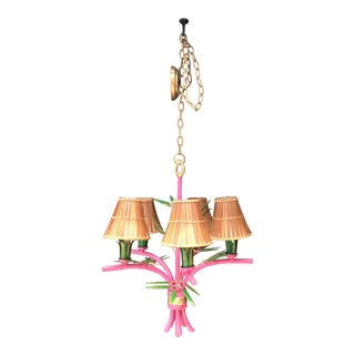 Boho Pink and Green Bamboo Chandelier For Sale