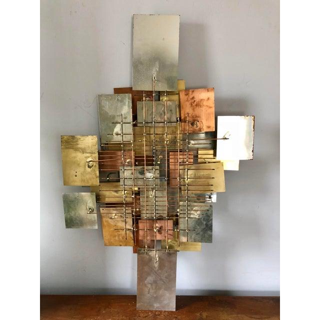 Mid Century Brutalist Metal Wall Art Sculpture | Chairish