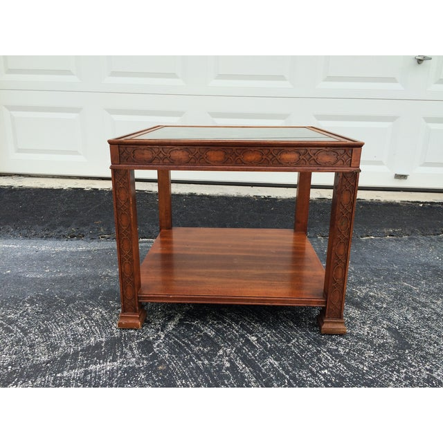 Chinese Chippendale Wood Fretwork Side Table - Image 3 of 7