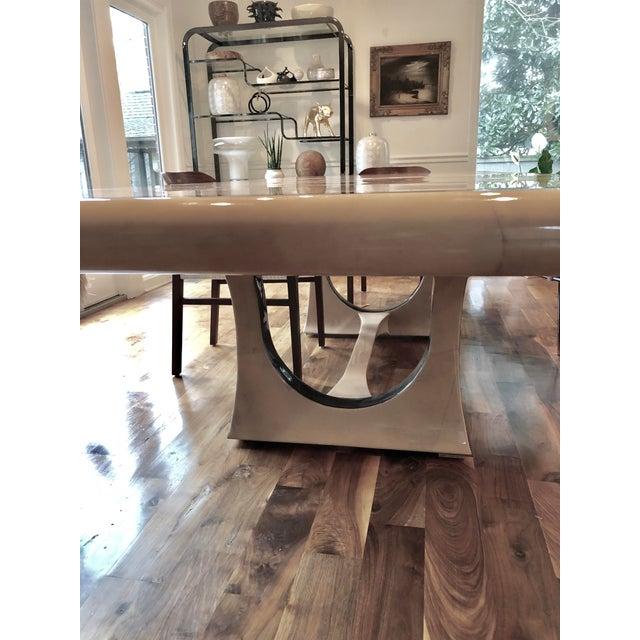 Enrique Garcel 1970s Modern Enrique Garcel Lacquered Goatskin Dining Table For Sale - Image 4 of 9