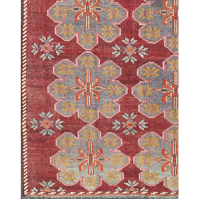Islamic Keivan Woven Arts Vintage Turkish Embroidered Kilim Rug in Wine Red, Steel Blue, Pink For Sale - Image 3 of 7