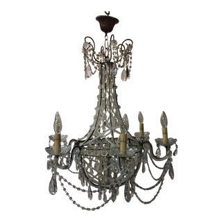 Italian Crystal Candle Chandelier For Sale
