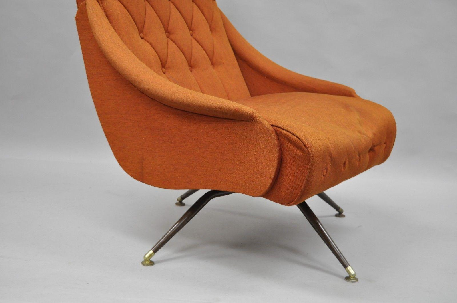 Vintage Mid Century Modern Mak Kraft Of Michigan Orange Fabric Swivel  Lounge Chair   Image 5