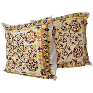 Vintage Embroidered Mirrored Pillow Shams - a Pair For Sale