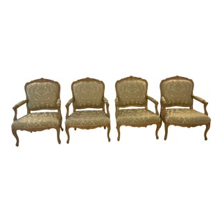 Louis XV Style Arm Chairs - Set of 4 For Sale