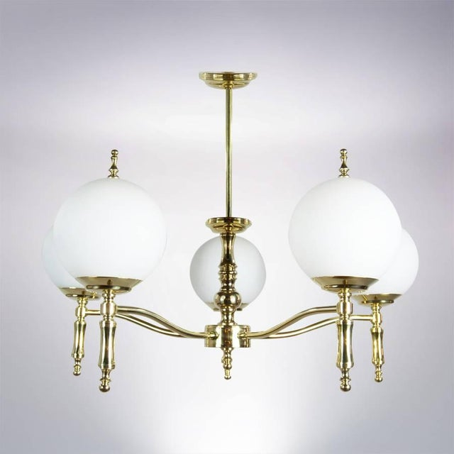 Italian Brass Chandelier, Circa 1950s For Sale - Image 4 of 9