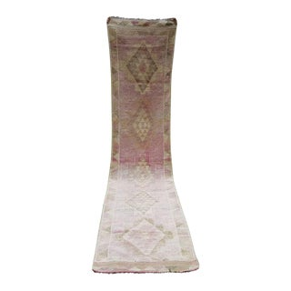 Antique 2.7 X 12.1 Ft. Rose Gold & Pink Color Kurdish Wool Handwoven Gallery Runner, Area Rug Traditional Distressed Overdye Oushak Hall Rug For Sale