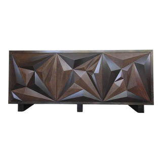 Faceted Multi Wood Credenza For Sale