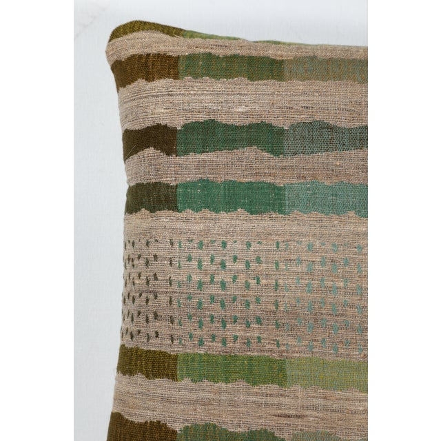 Indian Handwoven Pillow Bauhaus Green For Sale - Image 4 of 6