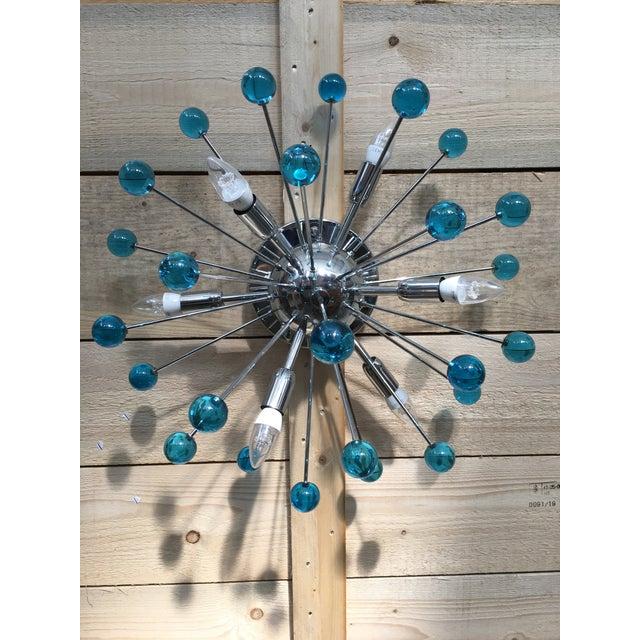 Aqua Blue Murano Glass Sputnik Flush Mount or Wall Sconce For Sale - Image 9 of 10