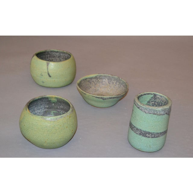 1970s Vintage Handcrafted Aztec Green and Gray Pottery Bowls / Vessel - Set of 4 For Sale - Image 5 of 13