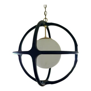 Large 1960s Mid Century Modern Glass Globe Pendant Light by Forecast Lighting For Sale