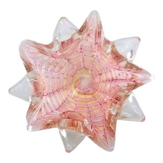 Murano Glass Starfish Shell Bowl Pink and Gold - Italian Venetian Mid Century Modern Palm Beach Boho Chic Hollywood Regency For Sale