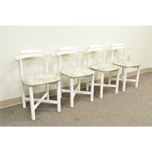 Set 4 Vintage Gangso Mobler Mid Century Danish Modern White Dining Room  Chairs