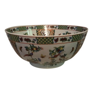 Vintage Chinese Garden Style Design Flowers With Birds Bowl For Sale